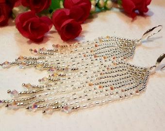 Wedding Long Fringe Earrings Silvery White Swarovski Crystals Earrings Sparkling Gentle Seed Beads Indian Jewelry Beautiful Gift For Women