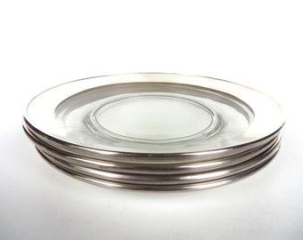 "Set Of 4 Dorothy Thorpe Allegro Silver Band 8"" Plates, Dorothy Thorpe Salad Plates,"