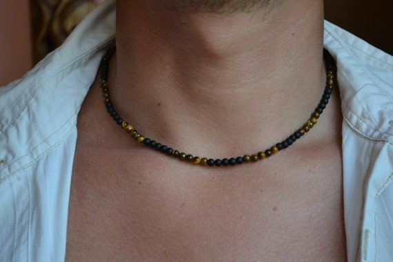 MENS NECKLACE Black Onyx Tiger Eye Necklace for Men Mens