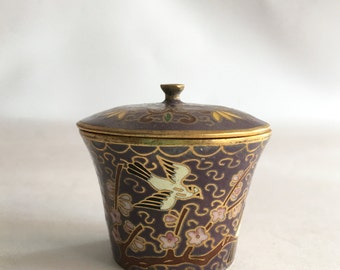 Chinese Cloisonné Jar Tiny Trinket Treasure Jar Enameled Beautiful Violet Purple and Pink Cherry Blossom Tropical Birds