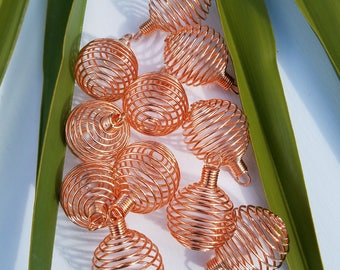 Copper Tone Gemstone Cage Pendant