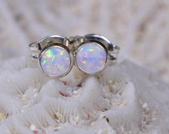 White Opal Stud Earrings 4mm Tiny Post Earrings Gemstone Jewelry Birthstone October