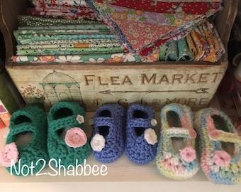 Baby Booties Mary Jane Style -Crochet Baby Booties - Baby Shoes Booties - Adjustable Straps - Mary Jane Booties - Crocheted Infant Booties