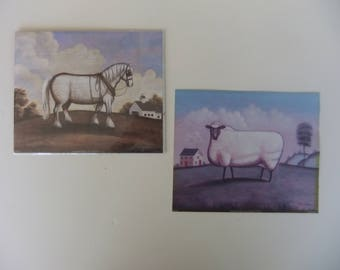 Sheep and Plow Horse Faux Primitive American Folk Art by Steven Klein Small Unframed Prints set of 2