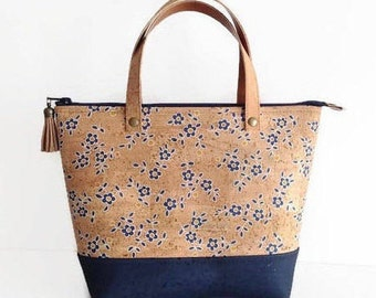 Cork Bag with Blue Flower Print, Eco Friendly handbag, Vegan Gift