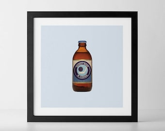 Hockey Night Stubby Beer Bottle Art Print