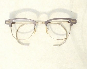 Gleaming Grey Aluminum Clubmaster Style Eyeglasses or Sunglasses, NOS Vintage