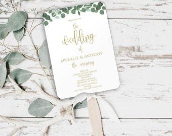 Greenery Wedding Fan Program, DIY Printable Wedding Program Template, DIY Wedding Program Templates Printable, Wedding Fans, Program, 0027