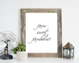 Farm Sweet Farmhouse, Farmhouse Art Printable, Farmhouse Wall Art, Living Room Farmhouse Print, Kitchen Farmhouse Print, Farmhouse Print
