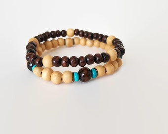 Mens Wood Bracelet Set - Mens Boho Bracelets - For Men - Stretch Bracelet Set - Masculine Bracelets - Layered Bracelets - Earthy Bracelets