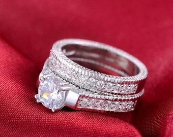 Ehering Set Engagement Braut Set Ring Ewigkeit Band Ring Hochzeit Band Ring Versprechen Ring Prinzessin Hochzeit Ring 925 Sterlingsilber