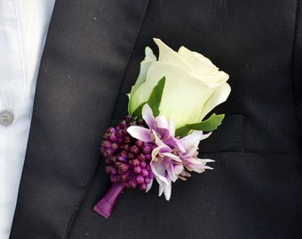 wedding PU real touch artificial flower boutonniere vintage style rose more color