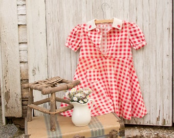 1940s Girls Red Check Gingham Dress - Handmade  - Sundress Shabby Cottage Country Chic Fourth of July