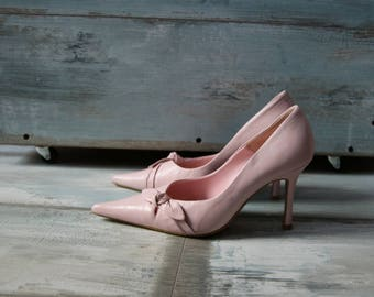 Light Pink Leather High Heel Shoes Elegant Pumps Women's Size 37/4/6.5