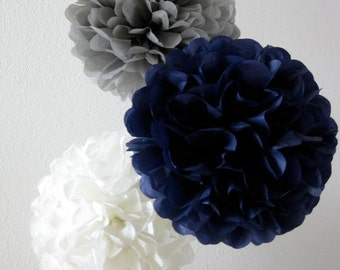Paper Pom Poms -Set of 20- Your Color Choice -  Natutical Navy and Gray Decorations - Baby Boy shower decor