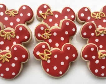 1 dzn. Red and gold Minnie Mouse Cookies. FREE Personalization! Platter or favor size 3 in. pink and Gold party, 1st birthday, Mickey