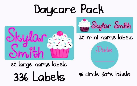 336 personalized waterproof dishwasher safe daycare pack of labels sippy cup baby bottle custom name stickers baby girl cupcakes