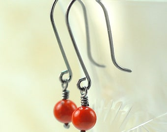Red Coral Sterling Silver Earrings / Red Coral Long Drop Earrings / Red Coral Long Dangle Earrings