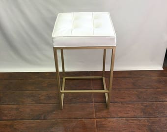 24 To 26 Brushed Gold Stools With Upholstered Seat FREE SHIPPING