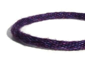 Cozy Collection-- purple and blue variegated hand dyed specialty yarn kumihimo bracelet with stainless steel clasp