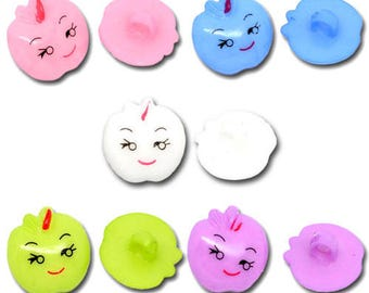 10 buttons little apples funny multicolored acrylic 17mm