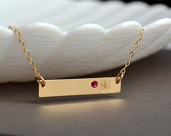 Gold Bar Necklace, Personaliozed Gold Bar Necklace, Initial Bar Necklace, 14k gold fill, Horizontal Bar, Birthstone Necklace