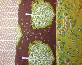 set of 3 fabric PATCHWORK lime and taupe JOEL DEWBERRY