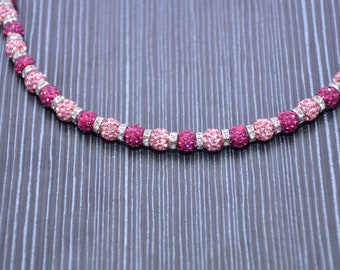 pink and purple crystal necklace,earing and bracelet set