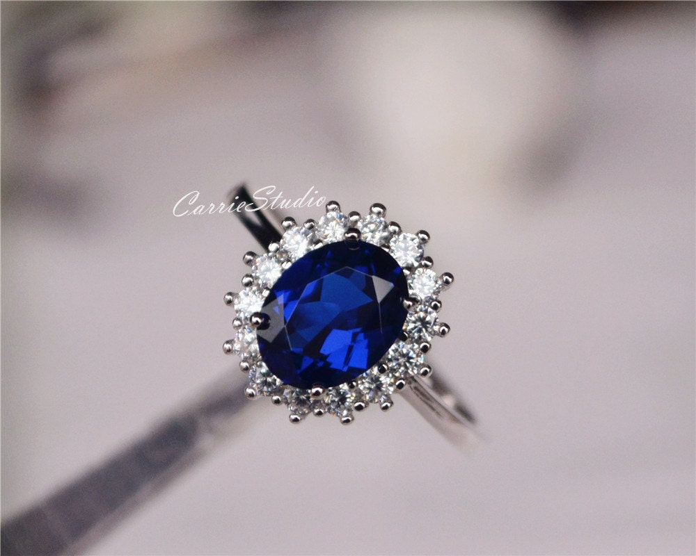 pendant cz products diamond travel bridal wedding oval necklace carat cut kate beloved royal celebrity halo jewelry sparkles blue sapphire cubic zirconia engagement