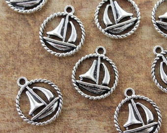 10 Sail Boat Charms Sail Boat Pendants Antiqued Silver Tone Double Sided 15 mm