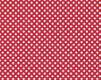 Riley Blake, White Dots on Red, Small Dots, Knit, fabric by the yard
