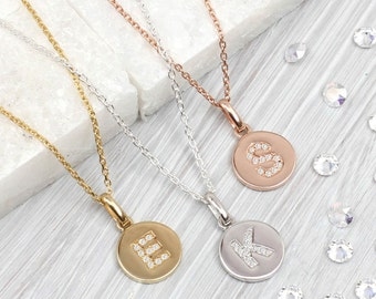 Genuine Diamond Initial And Precious Metal Necklace (HBN110 / 81)