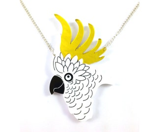 Cockatoo Necklace, Bird Necklace, Australia, Gift for Her, Statement Necklace, Laser Cut Necklace, Tropical Bird Pendant, Cockatiel, Toucan