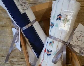 Burp Cloth Bundle- Contoured Burp Cloth - Baby Bib - Baby Burp Cloth and Bib - Bib and Burp Cloth Solid Navy & Multi-colored Arrows
