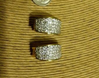 Vintage Designer Signed Nolan Miller Gold Toned and Rhinestone Clip-on Earrings