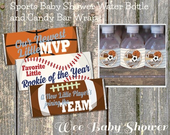 Baby Shower Sports Water Bottle and Candy Bar Wraps