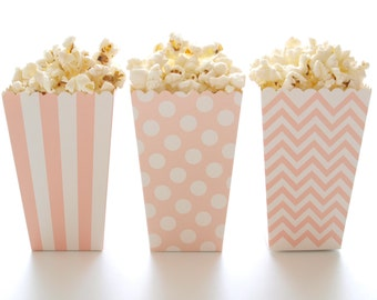 Light Pink Popcorn Boxes (36 Pack) - Miniature Popcorn Cartons, Girl Baby Shower Favors, Candy Buffet Treat Box