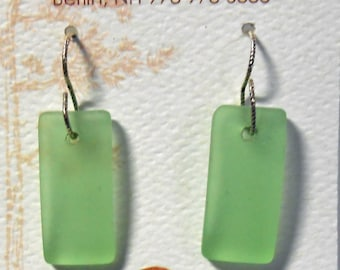 Sea Glass Sterling Silver Earrings Lime Green Beach Glass