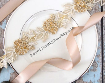 Light Gold and Tan Embroidery Flower Lace Sash , Bridal Sash, Bridesmaid Sash, Flower Girl Sash, Gold Headband SH-77
