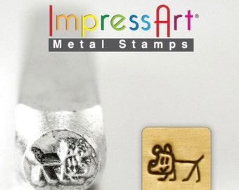 DOG Stick Design METAL STAMP 6mm Jewelry Steel Punch ImpressArt Animal Figure Stamps Custom Stamping Jewellery