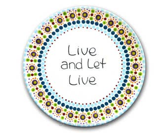 "Live and Let Live - AA/Al-Anon Recovery Mandala Plate - 8"" plate"