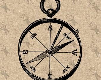 Vintage image Magnetic Compass Instant Download antique picture printable clipart digital graphic iron on, burlap, stickers, decor HQ 300dpi