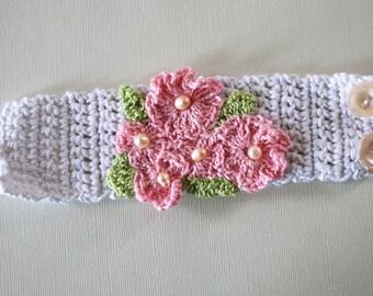 Pale Pink Cherry Blossom Crochet Flower Cuff
