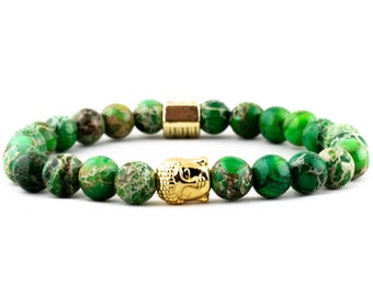 Green Regalite Gemstone & Gold Buddha