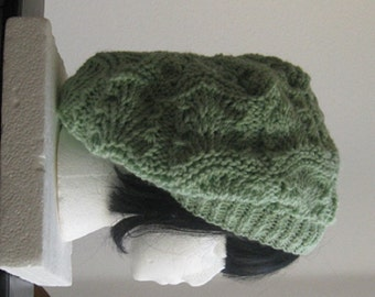 Lacy Green Slouchy Beanie