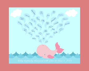 WHALE Baby Shower Keepsake Print, Alternative Guestbook, Baby Shower Guest Signature Print, Baby Whale Signature Print, Baby Shower Gift
