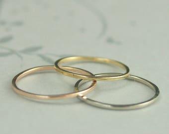 18K Gold Stacking Ring 1mm Square Ring Women's Wedding Ring 18K Gold Spacer Ring Thin Gold Wedding Ring Thin Ring 18K Spacer 18K Gold Ring