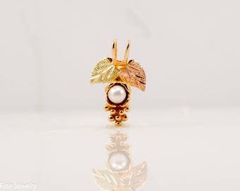 Pearl Black Hills Gold Pendant Cultured 10k Rose Green Yellow Leaves Nature Teen