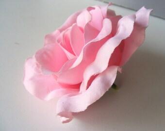 Rosey velvet (light) pink - jumbo light pink velvet ROSE - customizable on bobby pin, barrette, comb or alligator clip
