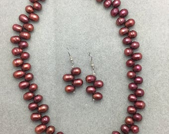 Black Cherry Pearl Necklace and Earring Set